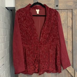 Chico's burgundy lace and suede blazer